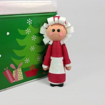 Mrs Claus Figurine Handmade Christmas