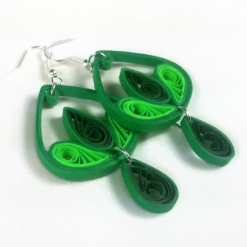 Green Chandelier Drop Earrings Paper Filigree