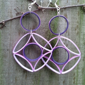 Geometric Purple Statement Earrings Paper Quilling