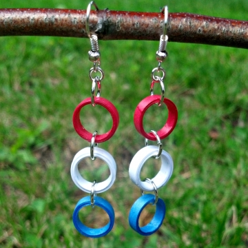 Patriotic Paper Quilled Dangle Earrings