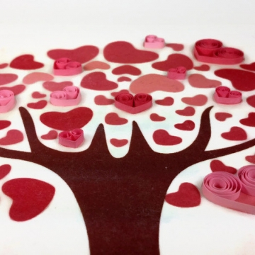 Quilled Hearts Love Tree Art Print Handmade Decor