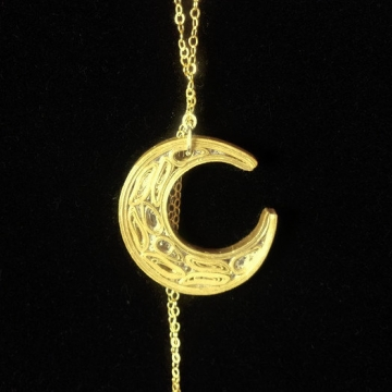 Gold Quilling Crescent Moon Necklace