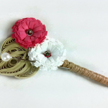 Rustic Wedding Boutonniere, Paper Daisy