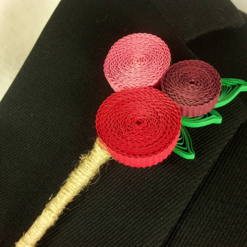 Funky Paper Quilled Billy Balls Boutonniere