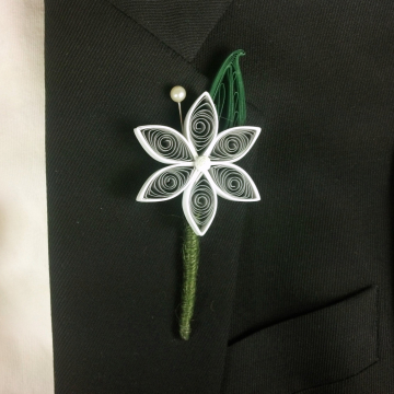 Gray and White Paper Flower Boutonniere Alternative