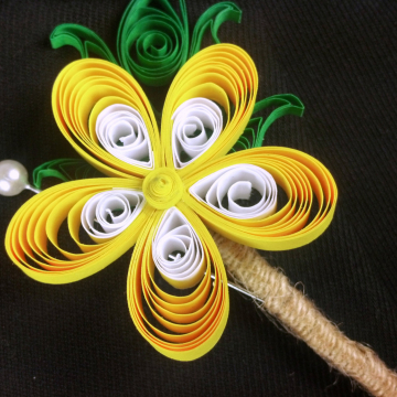 Buttercup Yellow Paper Wedding Boutonniere