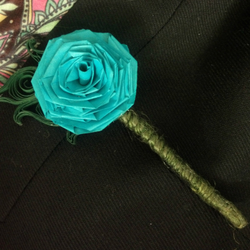 Turquoise Paper Rose Boutonniere