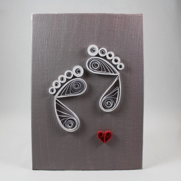 Baby Feet Quilling Art on Canvas