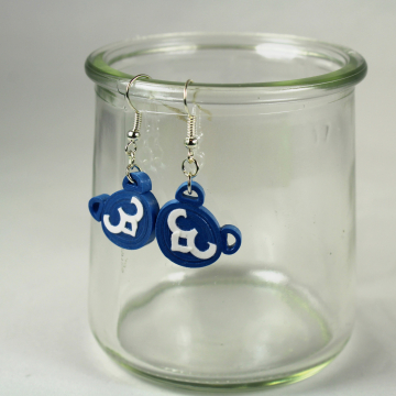 Dangle Blue Bear Cubs Earrings Paper Quilling