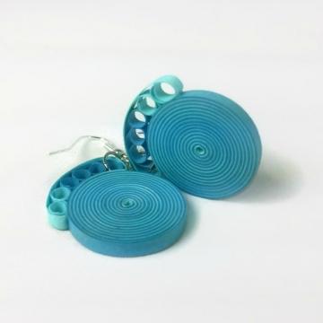 Handmade FIligree Dangle Earrings, Blue Green