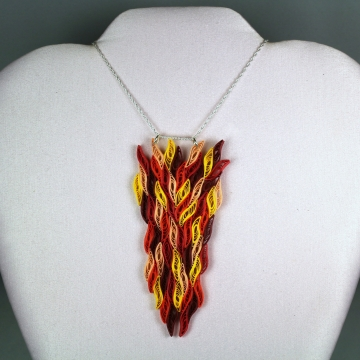 Fire Necklace Paper Quill Flames Large Pendant