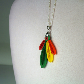 Four Feathers Necklace, Paper Quilling Jewelry