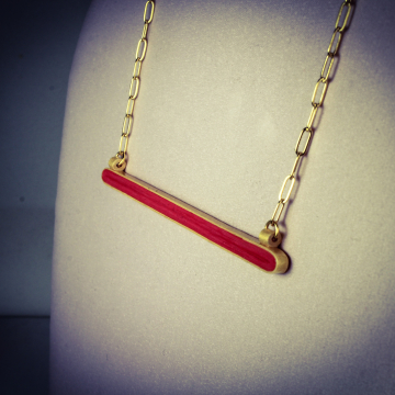 Gold and Grenadine Horizontal Bar Paper Quilled Necklace
