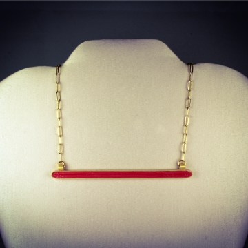 Gold and Red Horizontal Bar Paper Necklace