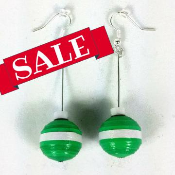 Green Red Christmas Ornament Earrings