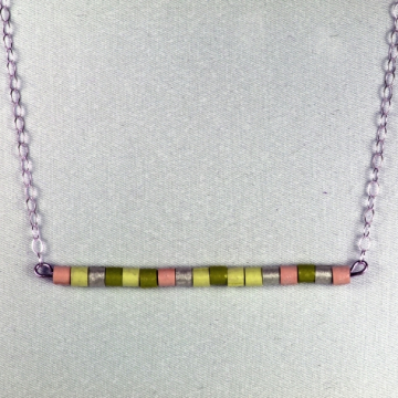 Horizontal Bar Sterling Silver Necklace with Paper Quilled Beads