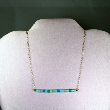 Paper Beads Skinny Bar Necklace Sterling Silver