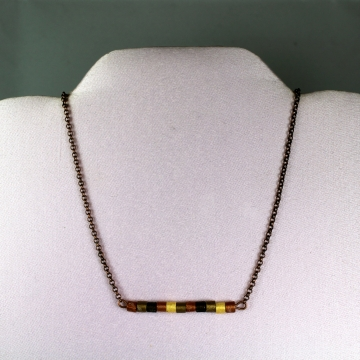 Copper and Gold Horizontal Bar Necklace with Paper Quilled Beads