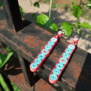 Coral Turquoise Long Bar Paper Earrings