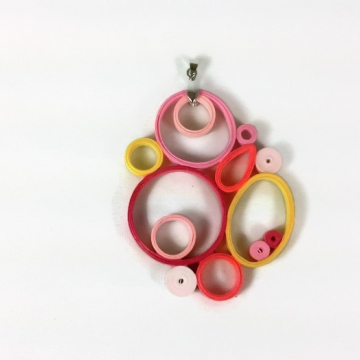 Modern Geometric Paper Quilled Pendant
