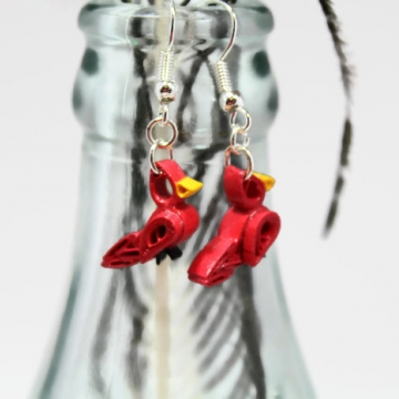 Tiny Quilled Cardinal Earrings Handmade Jewelry