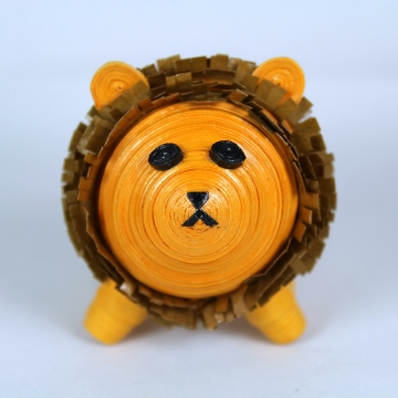 Lion Figurine Paper Quilling Art 3D Animal Ornament