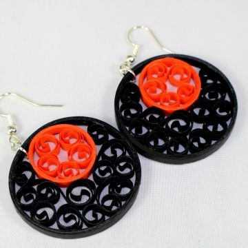 Black Orange Filigree Halloween Earrings