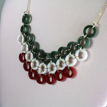 Christmas Necklace Red and Green Quilling Bib