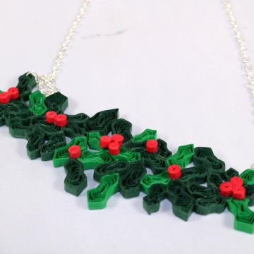 Holly Ivy Christmas Necklace Mistletoe Quill Jewelry