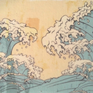 Japanese Waves Seascape Handmade Art Print