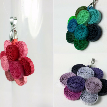 Peony Paper Quilling Pendant, Multiple Colors