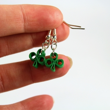 Tiny Shamrock Earrings, Paper Quilled Clover