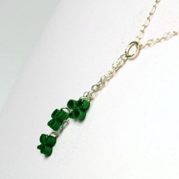 Shamrock Necklace Quilled Clover Sterling Silver