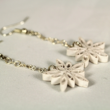 Dangle Snowflake Earrings Handmade Quill Paper Jewelry