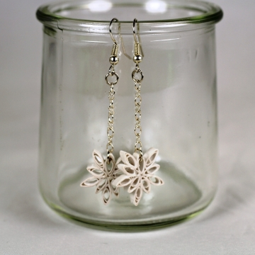Dangle Snowflake Earrings Handmade Quilled Paper Jewelry