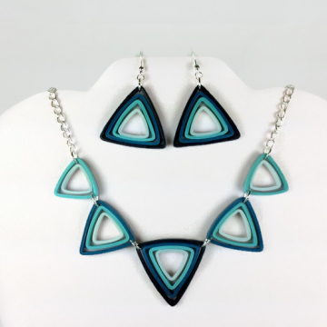 Quilled Paper Triangles Eco Friendly Deco Jewelry Set