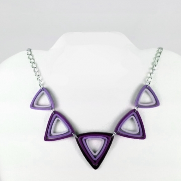 Geometric Triangle Necklace Modern Paper Quilling