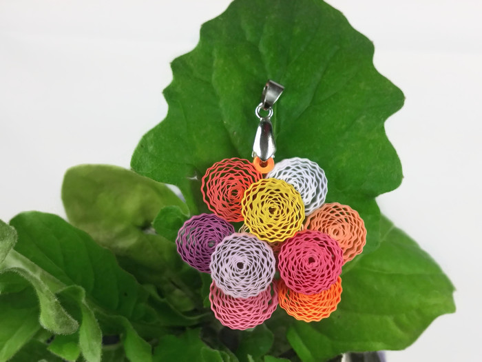 peony flower paper quilling pendant