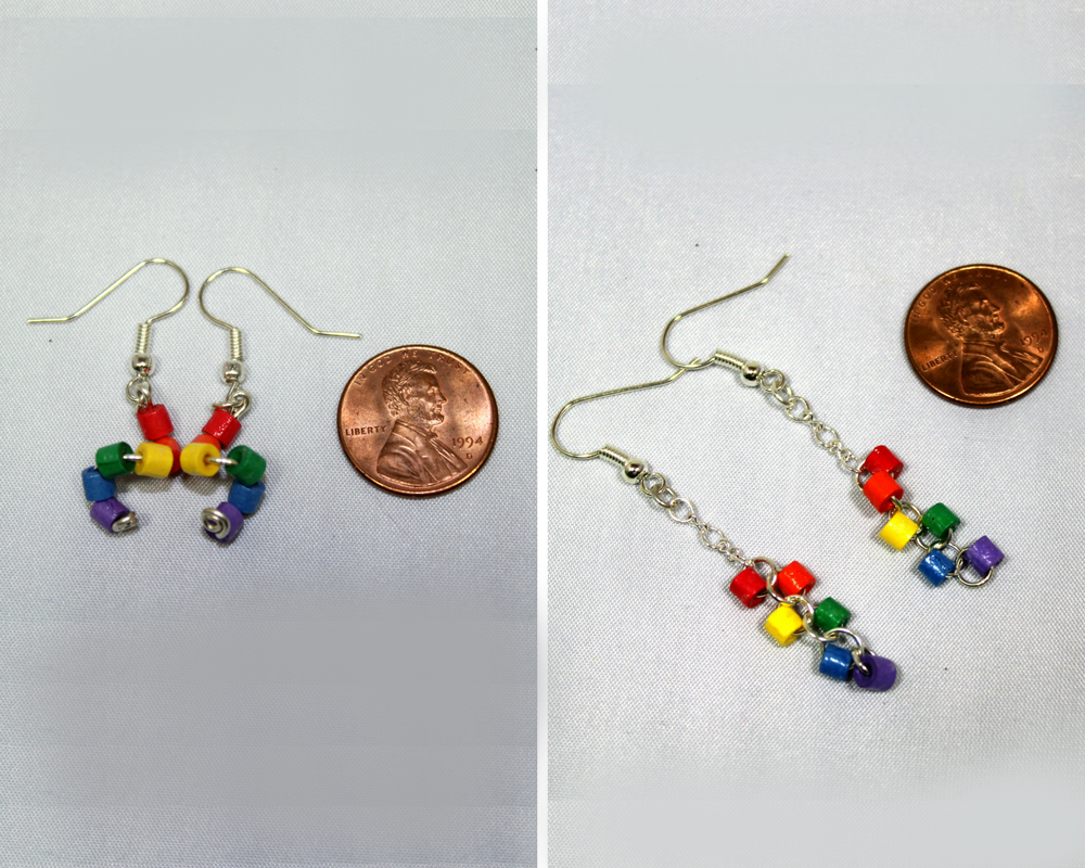 Rainbow Dangle Earrings Gay Pride Jewelry Sweethearts