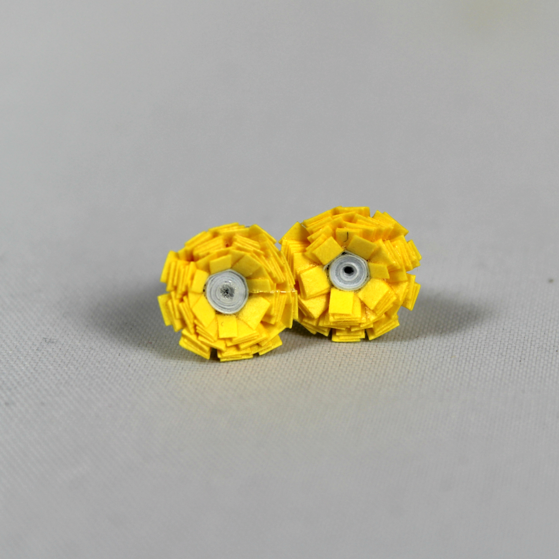 Mini Yellow Paper Flowers Stud Earrings Sweethearts And Crafts